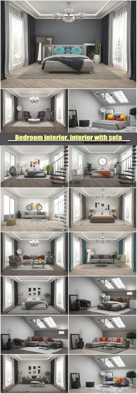 Bedroom interior, interior with sofa, 3d illustration