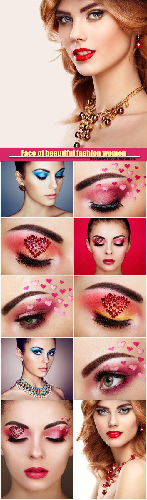 Face of beautiful fashion women with holiday makeup heart