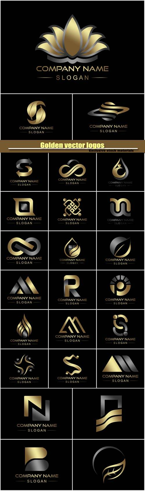 Golden vector logos, business company icon