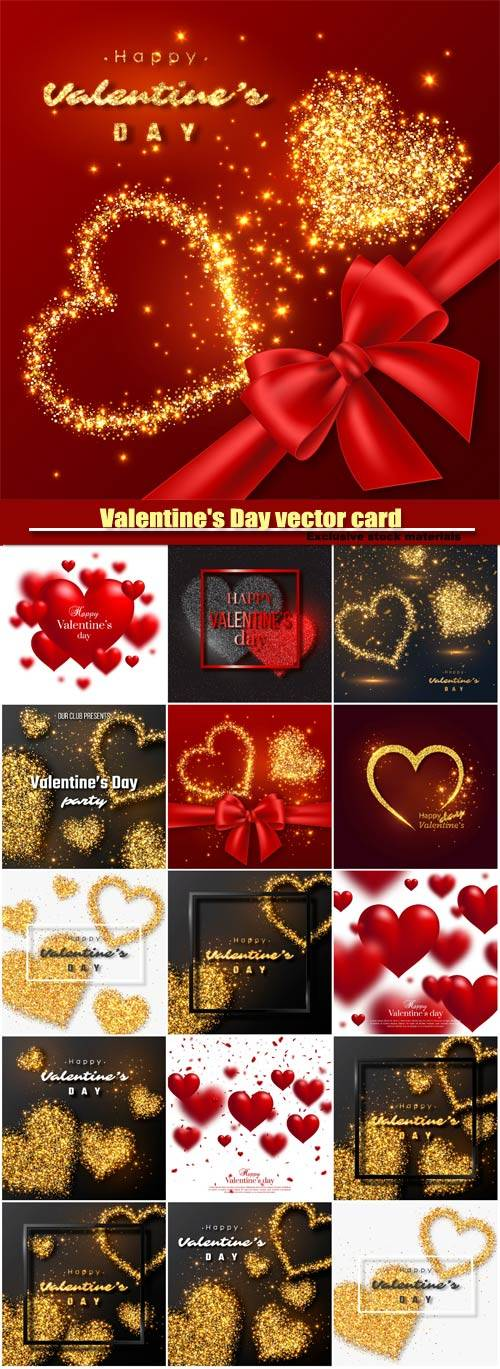 Valentine's Day vector card, red hearts