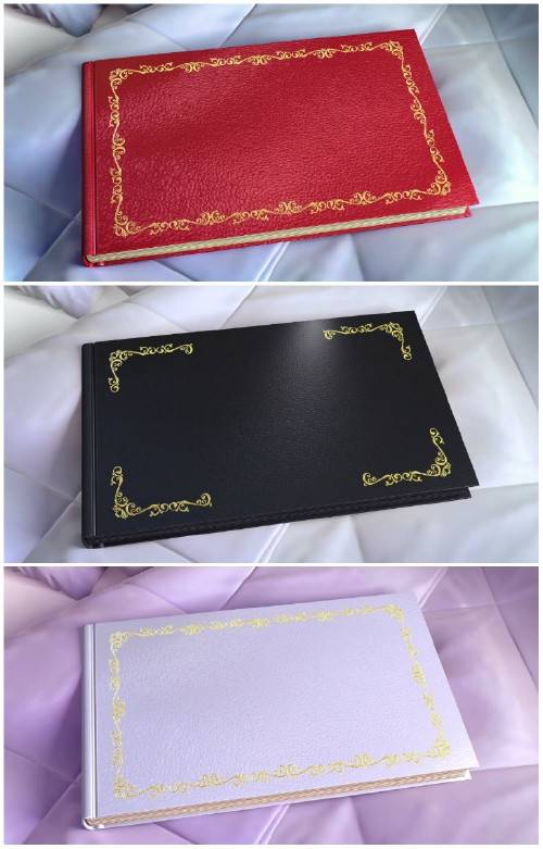 Wedding album opening on the first page