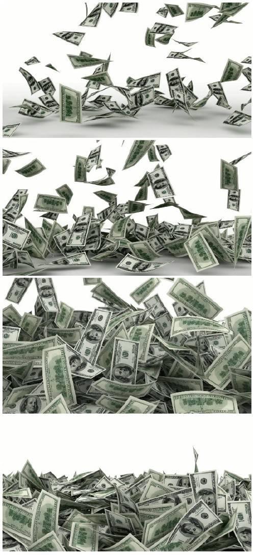 Video footage Falling dollar bills with alpha channel