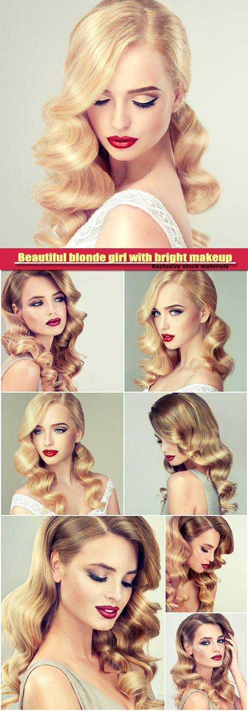 Beautiful blonde girl with bright makeup, with red lips, curly hair, styling hairstyle
