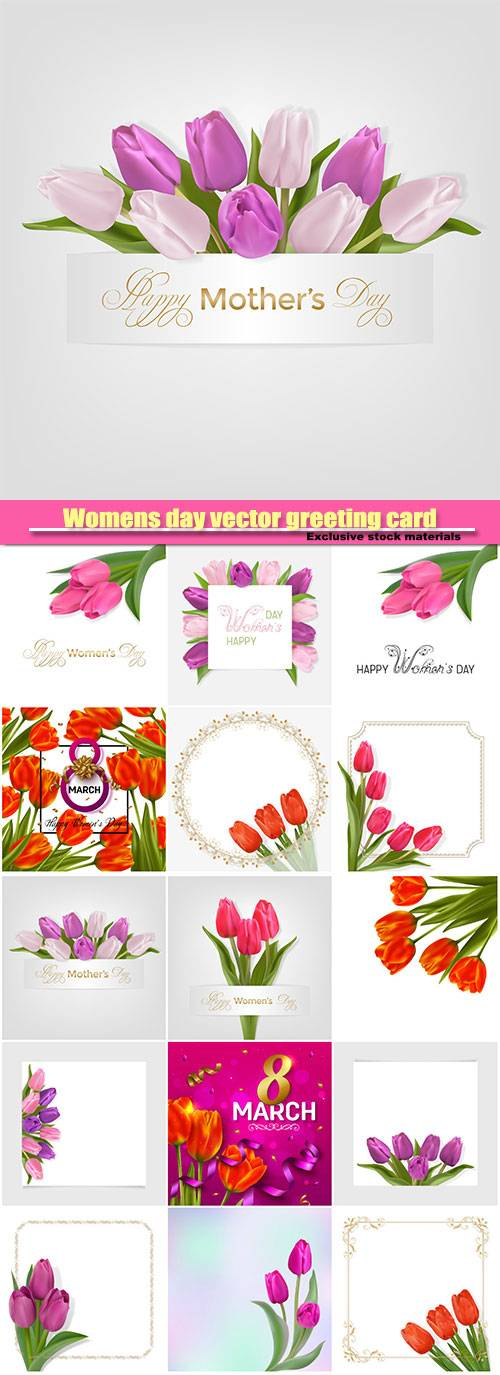 Womens day vector greeting card, tulip, 8 march vector