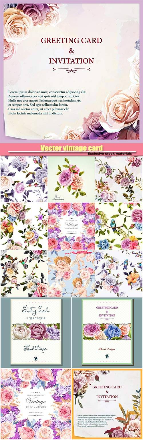Vector vintage card with pastel lilac and roses