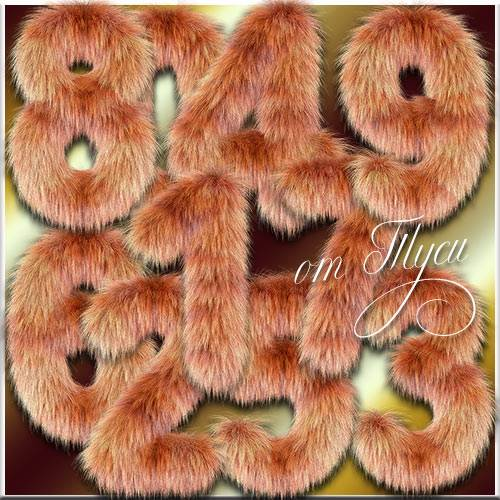 Цифры из рыжего меха - Клипарт