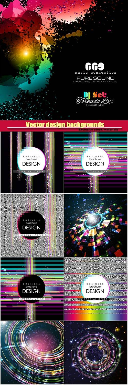 Dynamic trendy vector design backgrounds with glitch effect