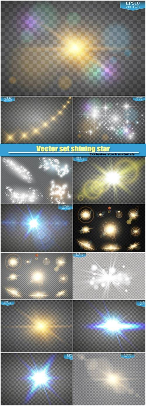 Vector set shining star, particles and sparks