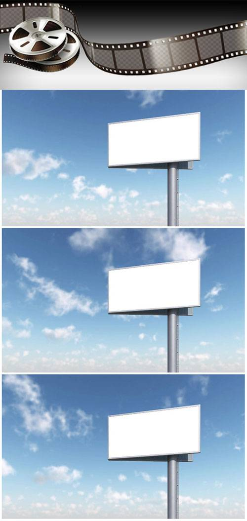 Video footage blank billboard against blue sky