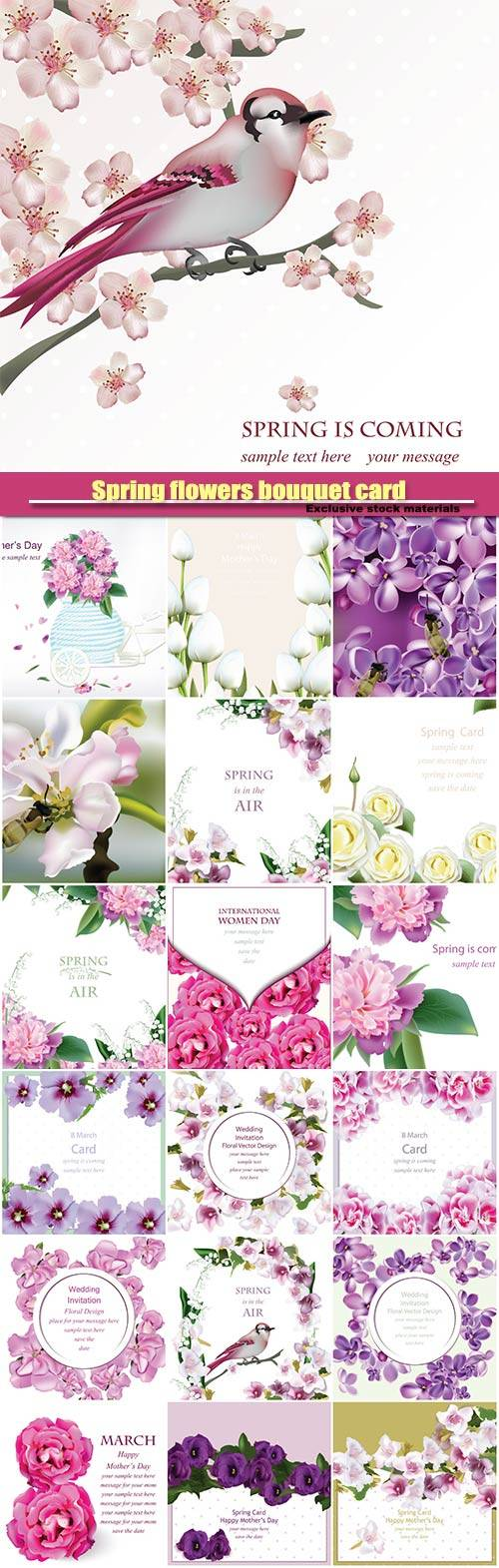 Spring flowers bouquet card background, weddings, birthday, anniversaryv ector illustration