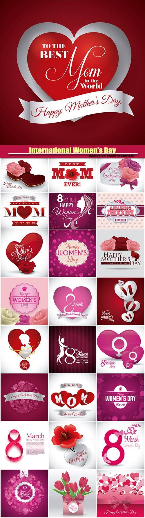 International Women's Day, 8 March backgrounds vector