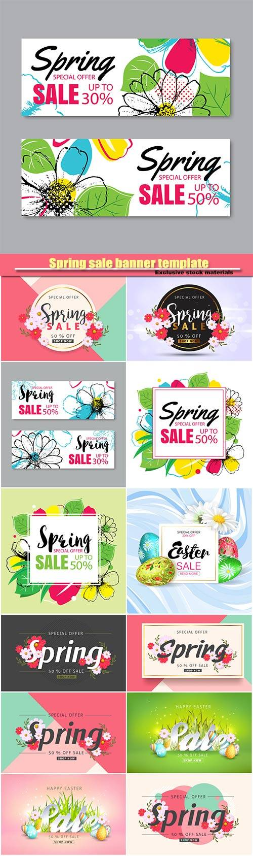 Spring sale banner template, posters, brochure, coupon discount