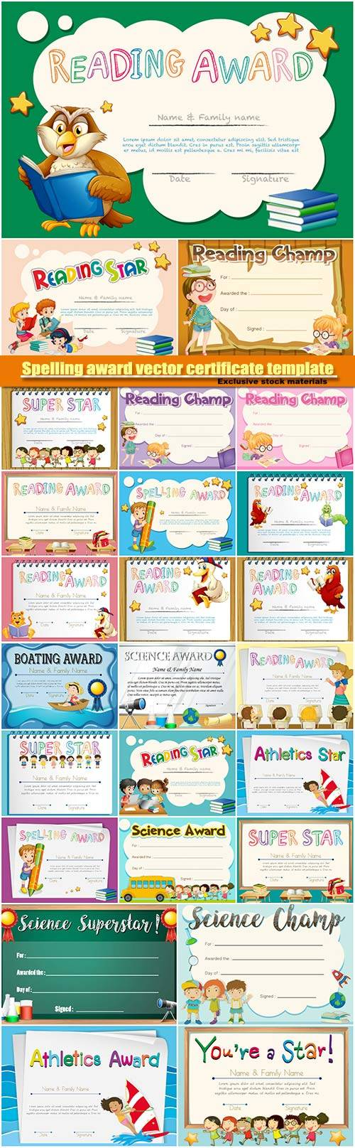 Spelling award vector certificate template with kids