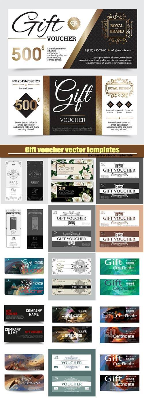 Gift voucher vector templates