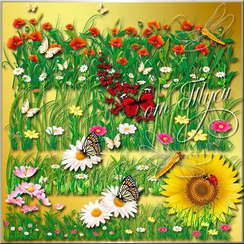 Клипарт - Цветочная лужайка
