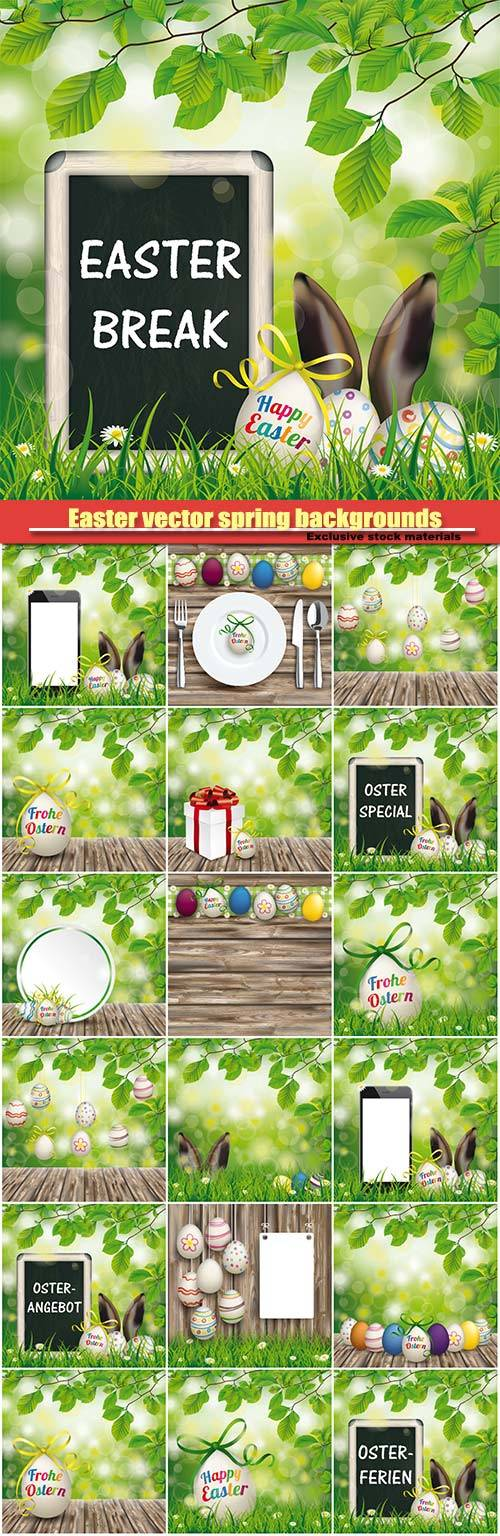 Easter vector spring backgrounds with a rabbit and Easter eggs