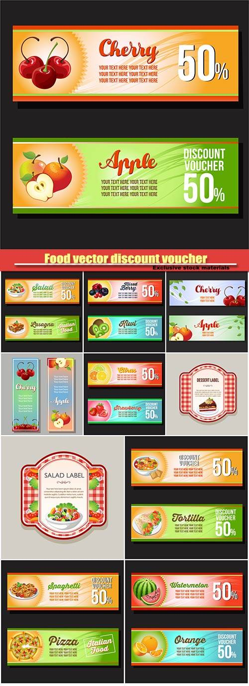 Food vector discount voucher, horizontal banner