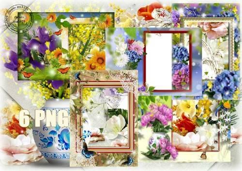 Сборник рамок для фотошопа – Сказочные цветы