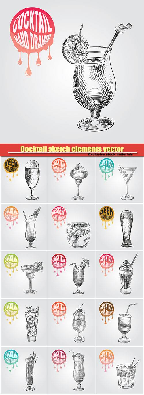 Cocktail sketch elements vector illustration