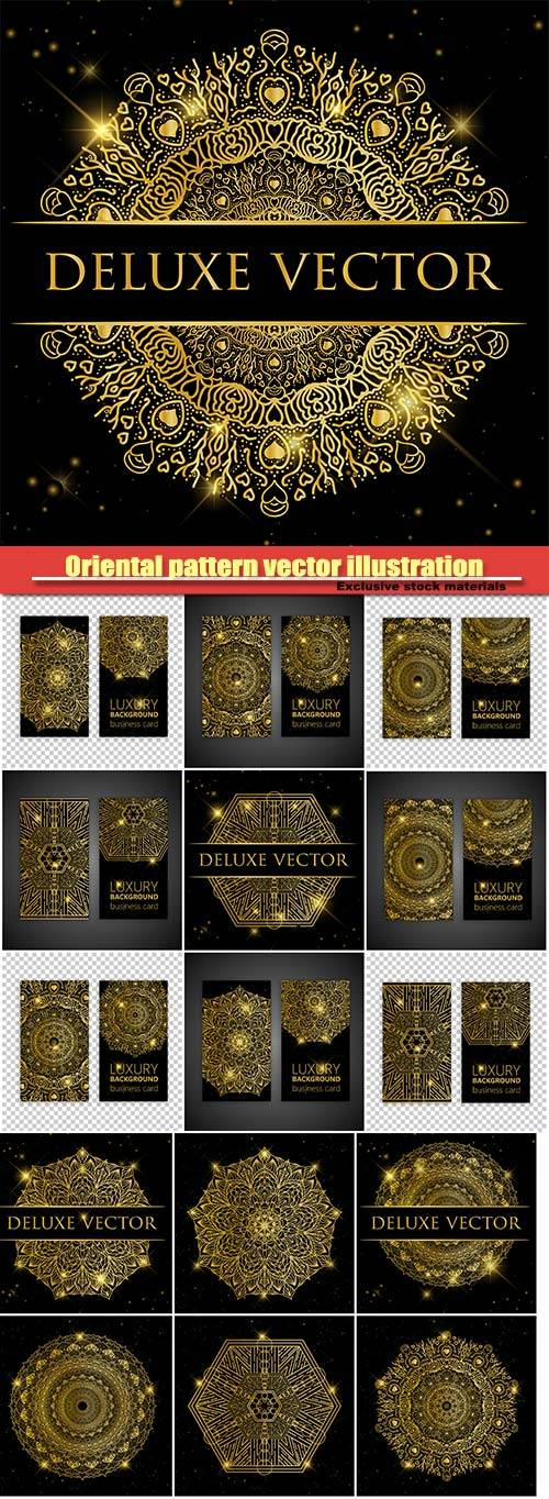 Oriental pattern vector illustration, Islam, Arabic Indian turkish motifs