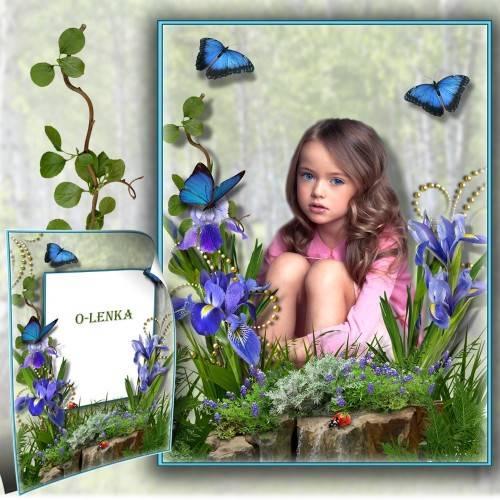 Рамка коллаж - Ирисы вновь распустились радугой нежных цветов