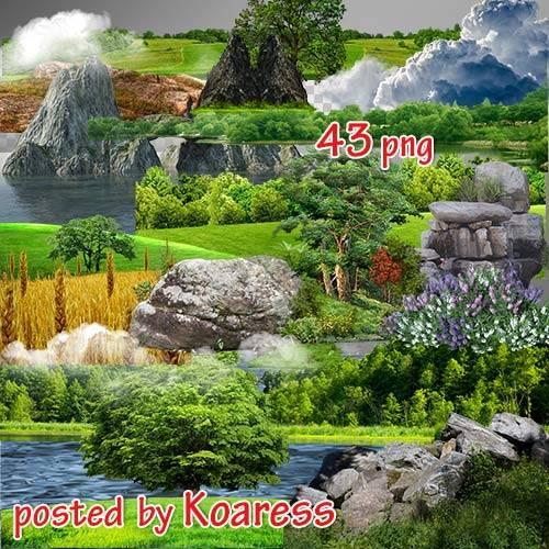 Png клипарт для дизайна - Море, поля, деревья, скалы и другие элементы пейз ...