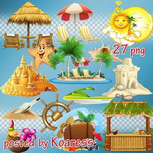 Png клипарт на прозрачном фоне - Лето, море, пальмы, замки из песка