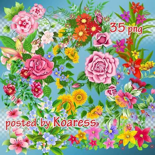 Png клипарт - Цветочные уголки и композиции