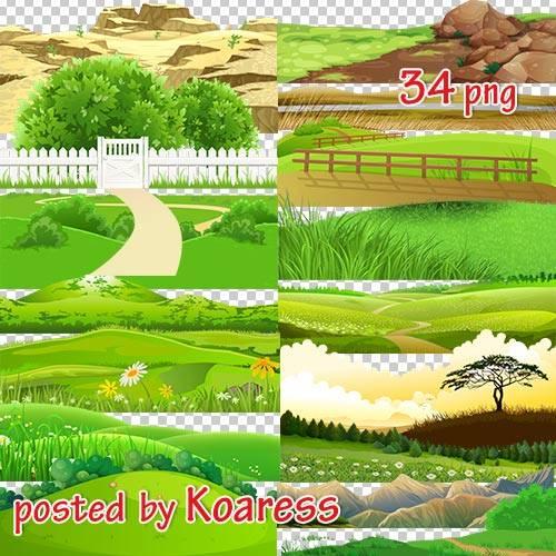Png клипарт для дизайна - Рисованые холмы, дороги, луга и другие элементы п ...