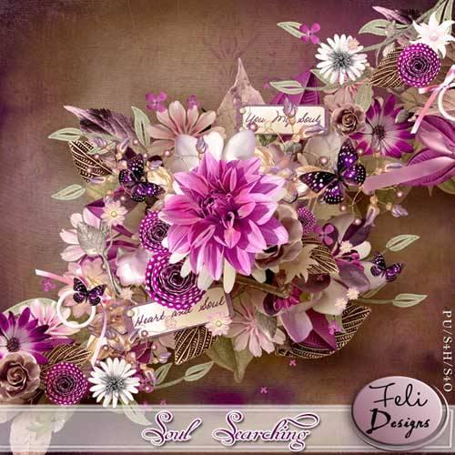 Цветочный скрап-набор - Ищущая душа