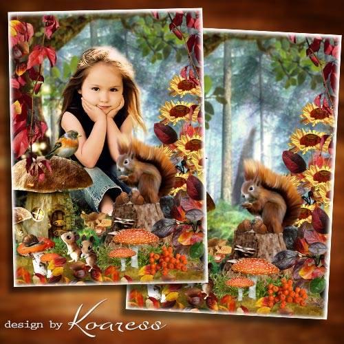 Осенняя рамка-коллаж для детей - Сказки осеннего леса