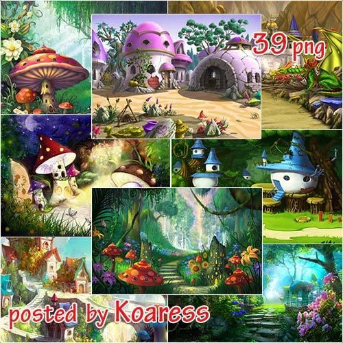 Подборка детских сказочных фонов jpg для дизайна - В сказочной стране