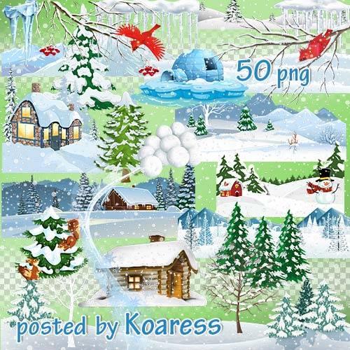 Png клипарт для дизайна - элементы зимнего пейзажа, снежки, снегопад, сосул ...