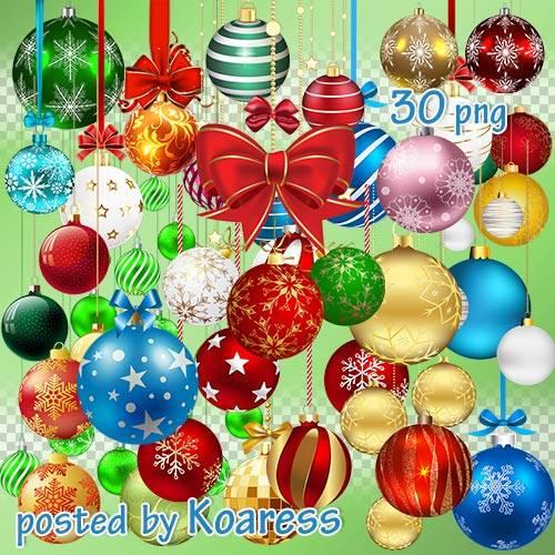 Клипарт png на прозрачном фоне для фотошопа - Новогодние елочные шары - час ...