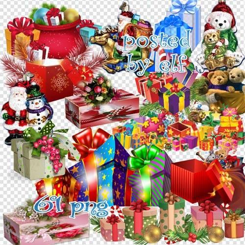 Новогодние подарки и украшения - клипарт без фона