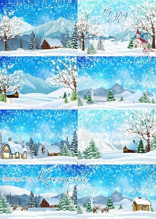 Набор растровых фонов для фотошопа - Снежная зима