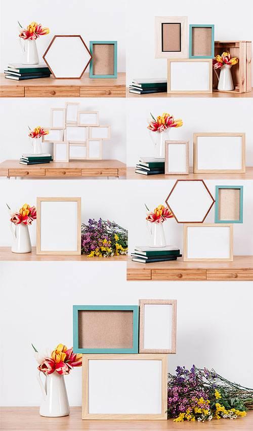 Растровый клипарт - Композиции из цветов и фоторамок