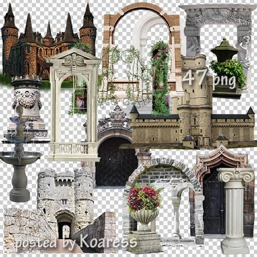 Клипарт png для дизайна - старинные замки, арки и другие элементы архитекту ...