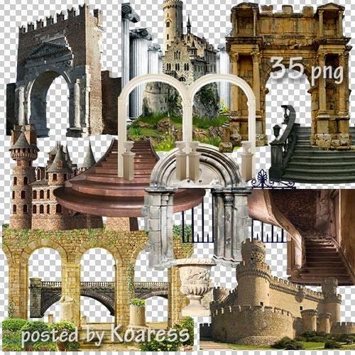 Клипарт png - старинные замки, башни, арки, колонны и другие элементы архит ...
