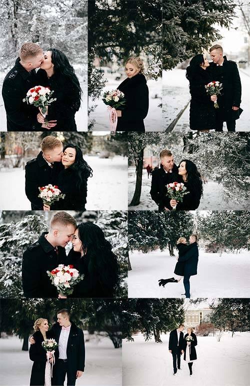 Растровый клипарт - Зимняя свадьба / Raster clipart - Winter wedding