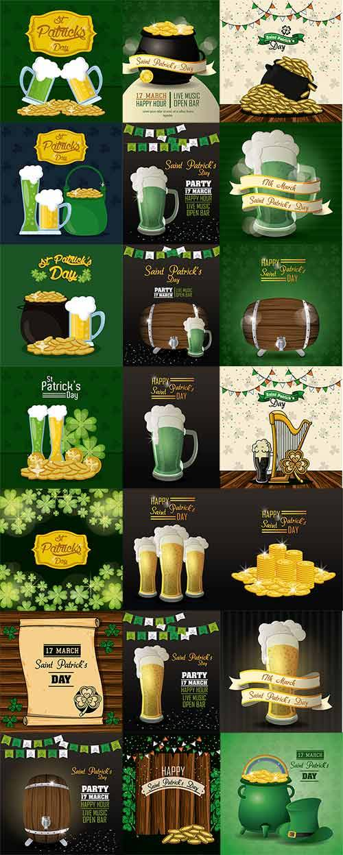 Saint Patricks Day cartoons card - Vector
