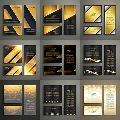 Золотые банеры для дизайна - Вектор / Gold banners for design - Vector