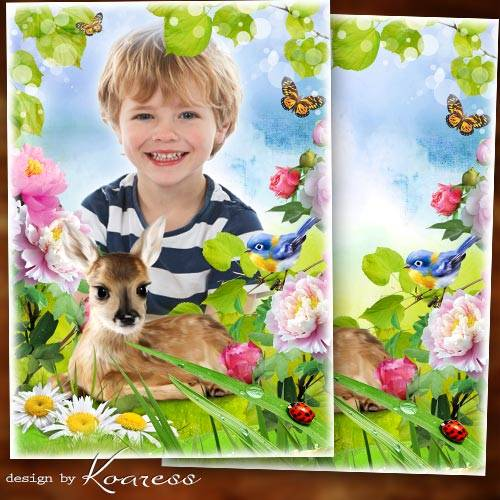 Детская фоторамка с природой для портретов - Оленёнок на полянке