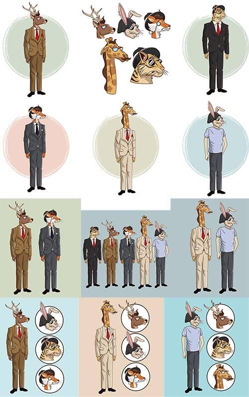 Звери в костюмах - Вектор / Animals in costumes - Vector