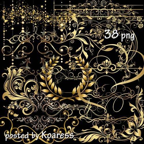 Клипарт png для дизайна - разделители, уголки и другие золотые декоративные ...
