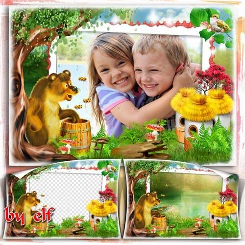 Детская фоторамка - Мишка очень любит мёд