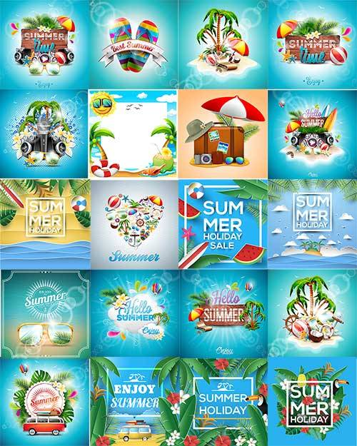 Здравствуй, лето - Векторный клипарт / Hello, summer - Vector Graphics