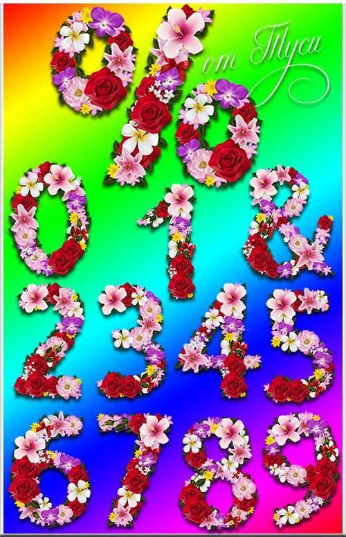 Цифры из цветов - Клипарт / Figures from flowers - clipart