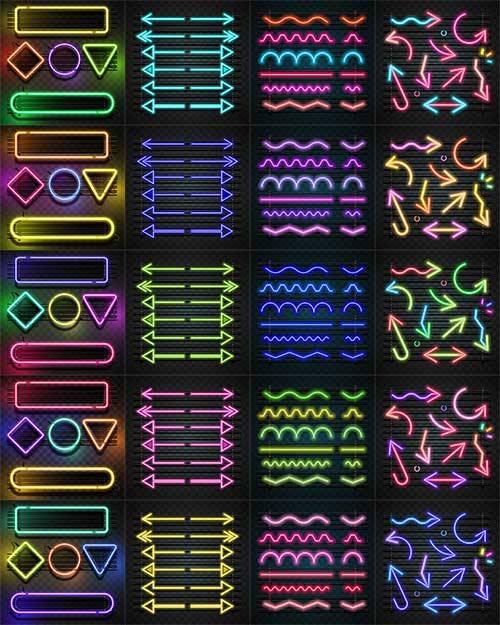Стрелки и фигуры в неоновом цвете - Вектор / Arrows and figures in neon col ...