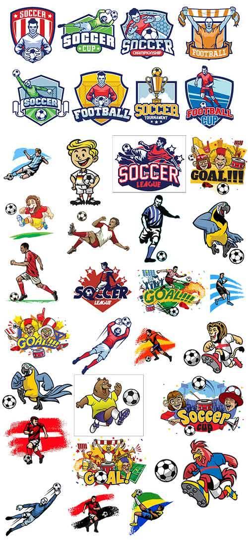 Футболисты и фанаты - Векторный клипарт / Soccer players and fans - Vector  ...